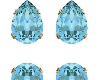 Swarovski Crystal Aquamarine Classic Ivy Stud Earrings Turquiose Blue Gold Plated Womens Girls 18x13mm Drop