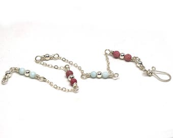 Sterling Silver Anklet with Amazonite and Rhodochrosite