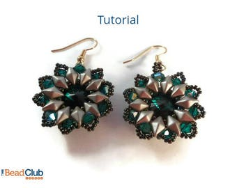 DiamonDuo Bead Patterns - Beaded Earring Patterns and Tutorials - Beaded Bezel Tutorials - Beadweaving Earrings Tutorial - Beading Patterns