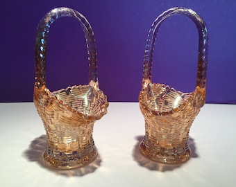 Pair of Vintage Dugan Carnival Glass Wedding Baskets