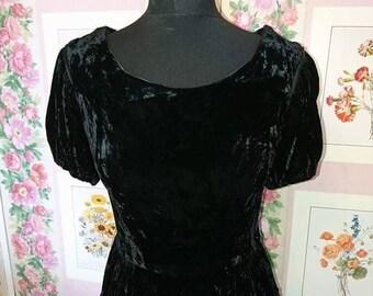 1950s, Black, Silk Velvet Party Dress by Elmoor.