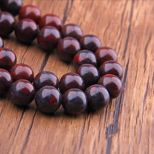 """Natural Bloodstone beads Gemstone Beads Round Smooth Natural Deep Red and Charcoal Gray Stone Beads 6mm 8mm 10mm 12mm Beads 15.5"""" Strand"""