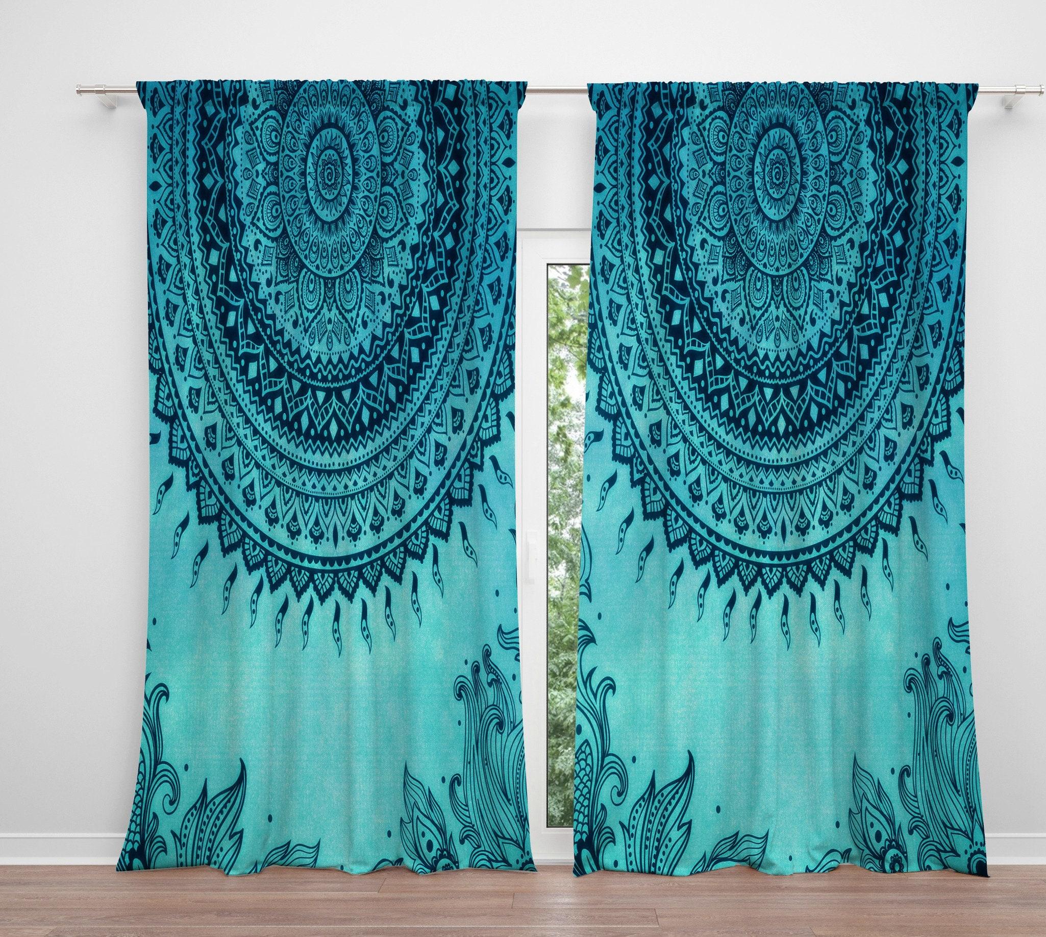 Turquoise Window Curtains , Boho Decor, Mandala, Hippie Gypsy , Window  Treatments, Curtains, Drapes