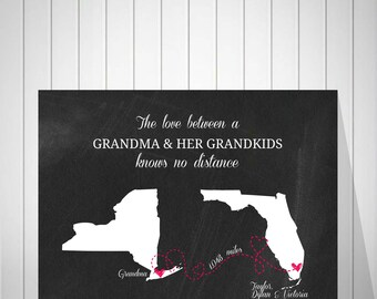 Great Grandparent Gifts | Wall Art Prints | Personalized A Grandma's Love | Long Distance Relationship | Gift From Grandkids - 60577