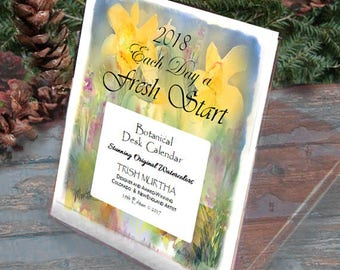 """2018 Desk Calendar SALE!  """"Each Day a Fresh Start""""  12 botanical pages in acrylic box/stand. Stunning Watercolors"""