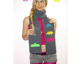 Space Invaders Human team scarf - PDF crochet pattern