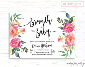 Baby shower brunch invitation, floral baby shower girl invitation, baby shower girl invite, boho chic baby shower,  rustic baby shower