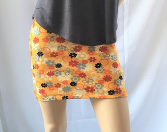 Floral stretch mini skirt, stretch fabric skirt, women skirt, party skirt, for summer,  short skirt, stylish, black skirt, mini skirt