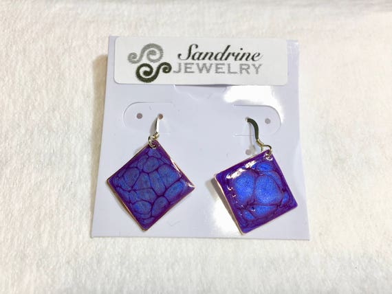 SJC10194 - Handmade small diamond shape dark blue enamel silver plated earrings with abstract designs