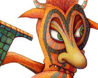 Monster - Kids Wall Art Poster - Letter L - Monster Art - Naked Monster Poster - Letter Print - Monster Poster - Alphabet Print - Art Poster