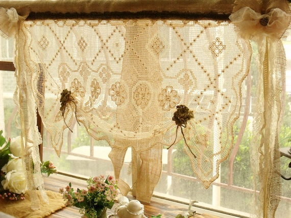 Shabby French Rustic Chic Balloon Burlap Lace Kitchen Window