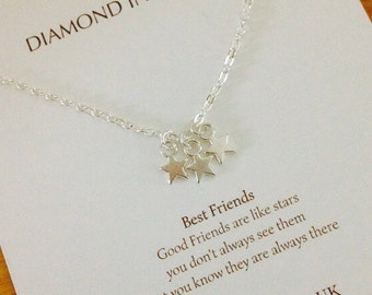 Best Friends, Stars necklace friends are like stars on Gift Card