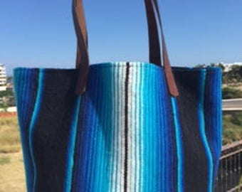 Mexican Beach Bag with Leather Handles