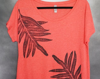 Women's Blouse, Vintage Red, with Two (2) Block Printed Black Laua'e (Hawaiian Fern) Leaves
