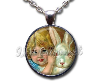 Easter Vintage Bunny Rabbit Peek a boo Glass Dome Pendant or with Chain Link Necklace HD216