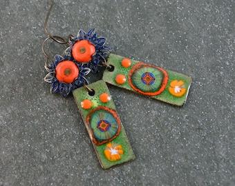 Copper Enameled Bohemian Gypsy Earrings Boho Chic Earrings Artisan Earrings Copper Enameled Charms