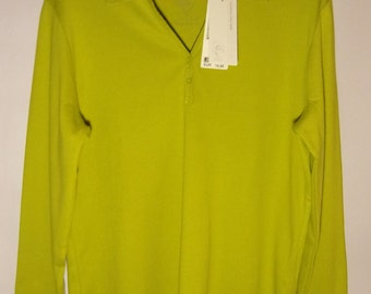 Womens Shirt/ Green Blouse/ Long Sleeve/ Buttons/ V Neck/ S. Oliver Blouse /Summer Blouse/ Cotton Blouse/  Condition Excellent/ Size XL
