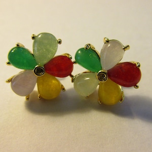 Multi-Colored Jade Flower Pierced Stud Earrings, 13mm