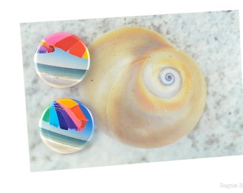 "Beach Umbrella Magnets - 1.5"" Magnets - Beach Day - Ocean Lover - Beach Lover - Original Images - Gulf Coast - Florida - Rainbow Umbrella"