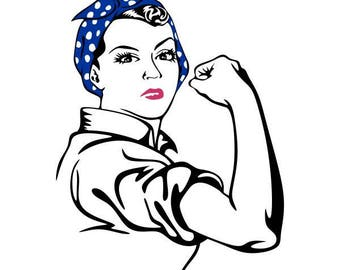 Rosie The Riveter Silhouette Outline