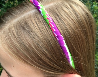 Striped Satin Ribbon Wrapped Headband in White Hot Pink Bright Purple and Lime Green