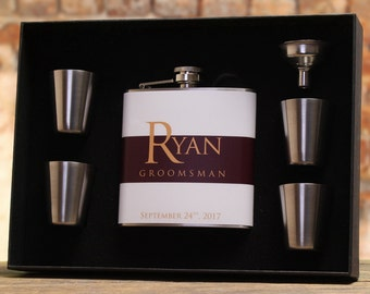 Gifts for Groomsmen, Personalized Flasks, Burgandy Wedding