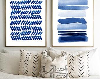 Blue Abstract Watercolor Prints Set of 2 Indigo Blue Navy Painting Minimalist art Large Abstract art Stripes Brushstrokes Dots Minimal Boho