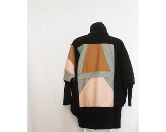 oversized shrug - coat, boro-noragi style, handmade patchwork coat