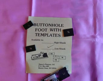Buttonhole Foot with Templates, Low Shank, Nancy's Notions. New in Package