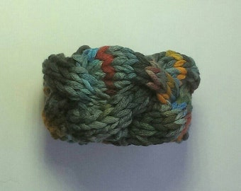 Cotton tape cable bracelet, handknit jewellery blues and reds