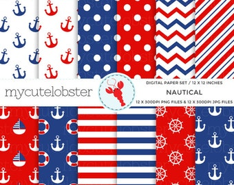 Nautical Digital Paper Set - nautical paper, anchors, patterned paper pack, red, blue - personal use, small commercial use, instant download