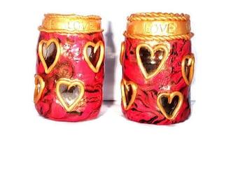 Romantic Tea Light, Decorative Tea Light, Love, Heart, Ornamental Tea Light, LED Tea Light, Fimo Tea Light, Polymer Clay Tea Light, Glass