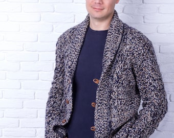 Custom Men's hand knit Cardigan,  Made to order model, Replica cardigan, Hand Knit Stylish Sweater, Casual Wool Cardigan