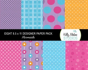 Mermaids - Designer Paper Pack Set Digital Elements for Cards, Stationery and Paper Crafts and Products