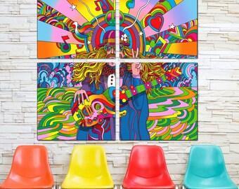 Hippie Musician 60s Style Quadriptych Metal Wall Art Pop Art