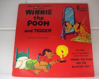 DISNEYLAND RECORD Album Winnie the Pooh and Tigger Walt Disney 1968 LP Blustery Day Childrens Music