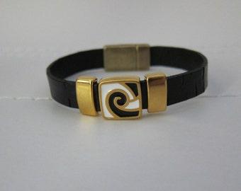 Black Flat Leather//Gold Black White Enamel Slides Bracelet