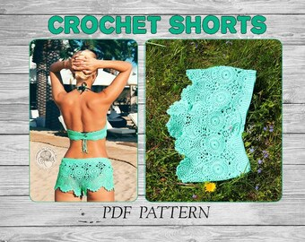 Crochet Shorts Pattern, Beach Shorts/ Summer Crochet Bottom/ Crochet Bikini Bottom/ Crochet Beachwear/ Boho Crochet Beachwear