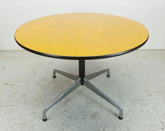 Herman Miller Charles Eames mid century modern walnut aluminum base round dining table FREE SHIPPING