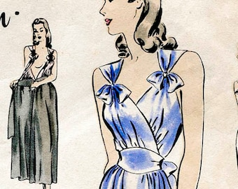 30s 1930s 40s 1940s vintage lingerie sewing pattern gown negligee bow detail PICK YOUR SIZE Bust 32 34 36 38 40 reproduction