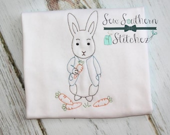 Vintage Boy Bunny Embroidery Design ~  Easter Bunny Design ~ Instant Download
