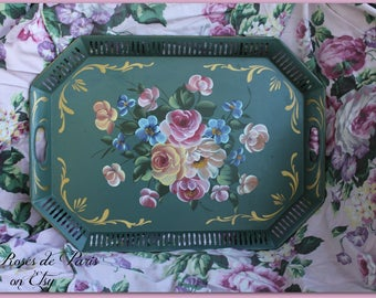 "vintage tole tray Green with pink and yellow roses~ Nice shape!  Large 24 x 17.5""~ reticulated edge Cottage chic"