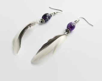Purple, grey and white feathers of parrot minimalist handmade jewelry earrings unique