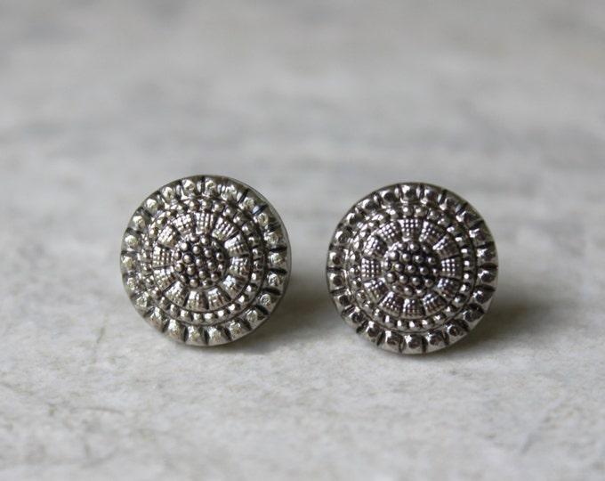 Gunmetal Earrings, Dark Silver Earring, Pierced Earrings, Small Earrings, Tribal Jewelry, Antique Silver Jewelry, Pewter, Post Earrings