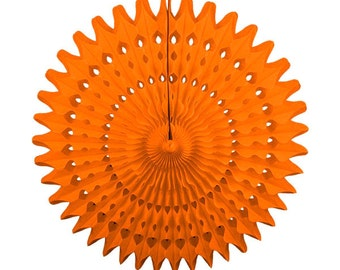 "21"" Orange Tissue Paper Fan - Wedding, Nursery, Baby Shower, Bridal, Backdrop, Photoshoot"