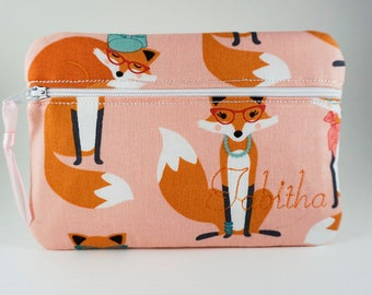 Fox Makeup Bag, Clutch Bag You Choose The Fabric! Bridesmaid clutch, Monogrammed makeup bag, Make Up Bag, Cosmetic Bag, Personalized Bag
