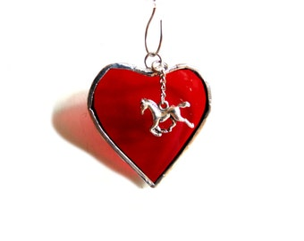 I love horses, Stained glass heart suncatcher ornament, red heart, horse ornament, Christmas ornament, horse lover gift