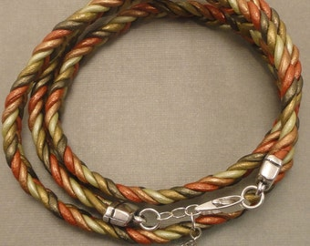 Braided Metallic Leather Wrap Bracelet