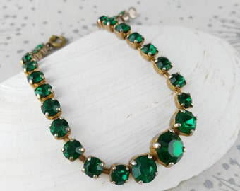 Green Diamante Bracelet - Irish Wedding - Green Glass Bracelet - Green Paste Bracelet - Gift for Women - Mother's Day Gift - Birthday Gift