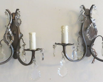 Pair Electrified Crystal Sconces